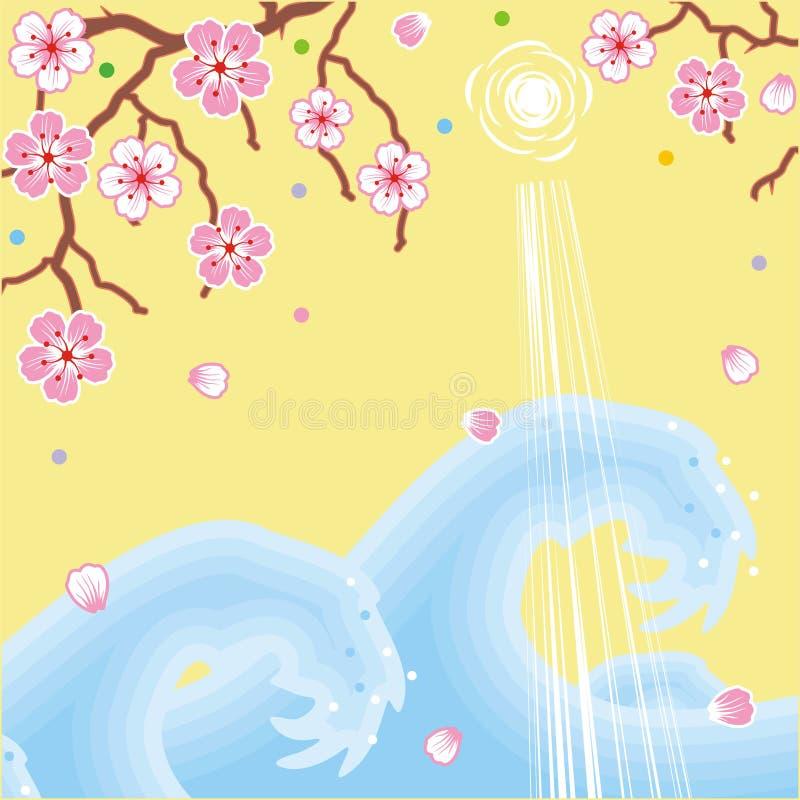 Flores y fondo del resorte de las ondas stock de ilustración