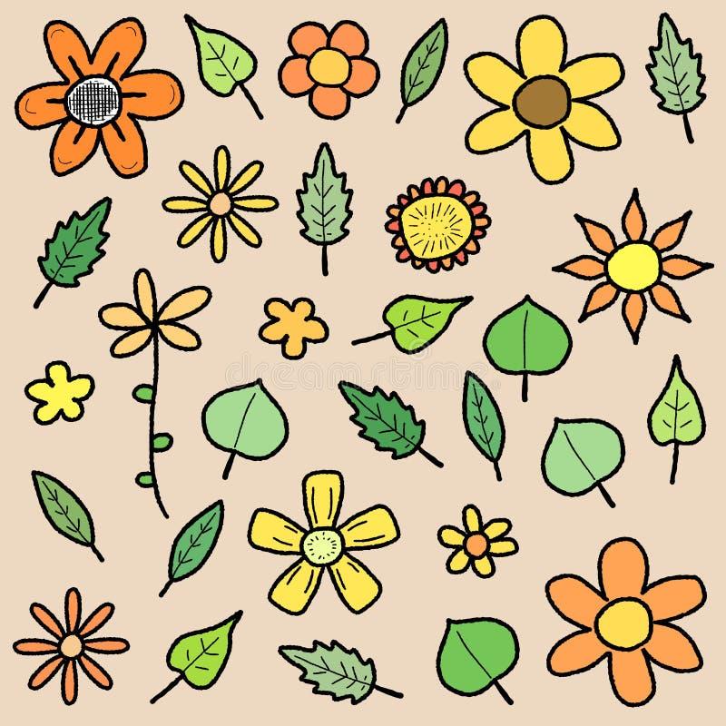 Flores y hojas libre illustration