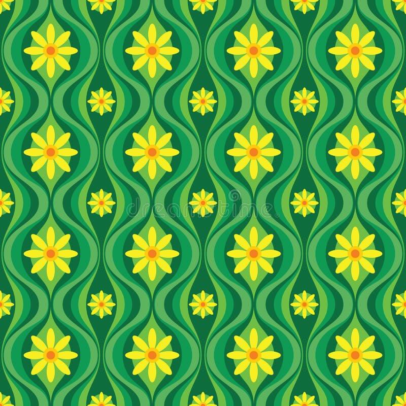 Flores y hojas amarillas del verde Fondo del vector del arte moderno de los mediados de siglo Modelo incons?til geom?trico abstra ilustración del vector