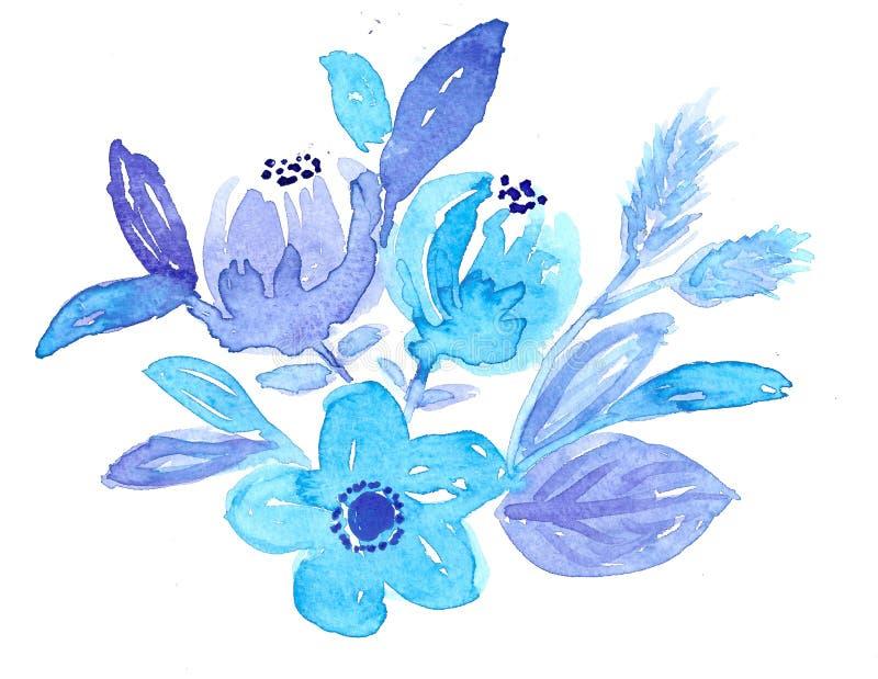 Flores y hojas azules dibujadas mano de la acuarela ilustración del vector