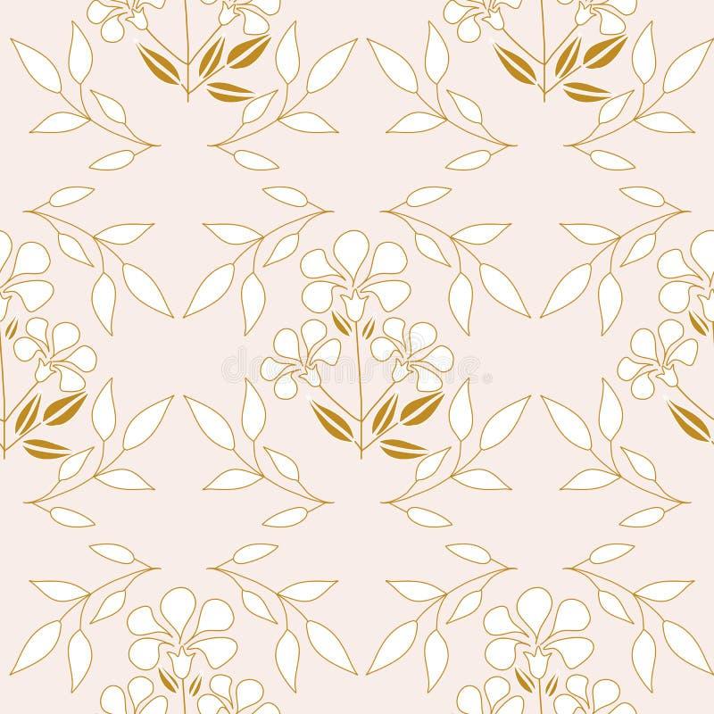 Flores y hojas de oro elegantes en un diseño inconsútil del modelo ilustración del vector