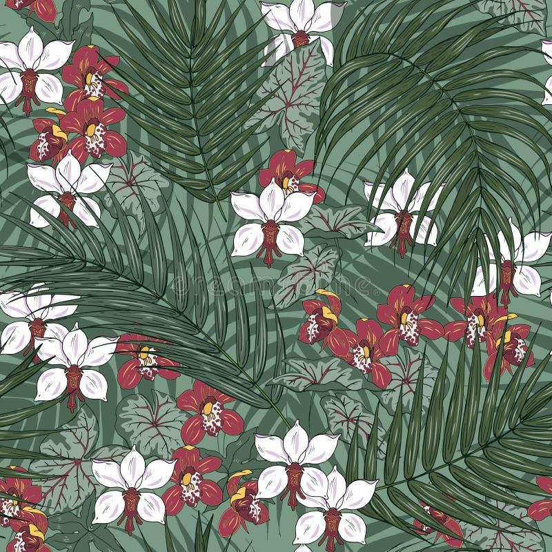 flores y hojas de palma, modelo inconsútil de las orquídeas stock de ilustración