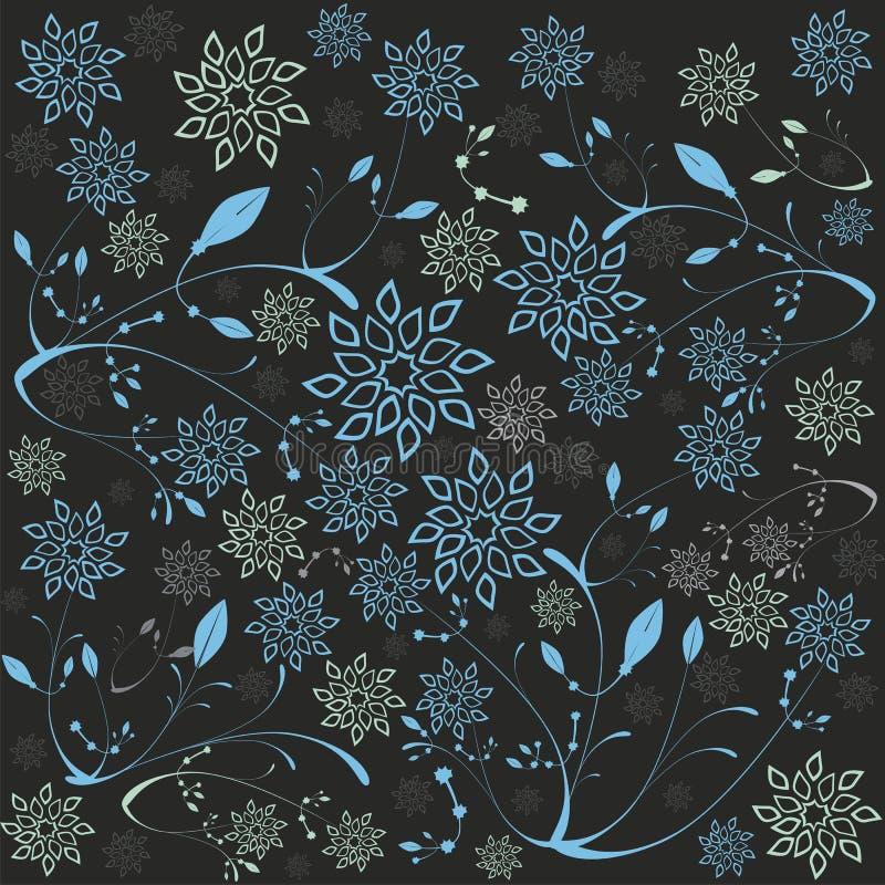 Flores y hojas del hielo stock de ilustración