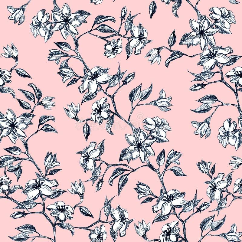 Flores y hojas en la rama, mano dibujada - modelo inconsútil con el flor en fondo rosado ilustración del vector
