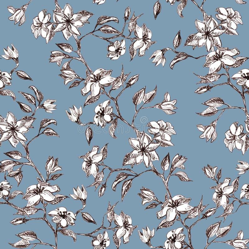 Flores y hojas en la rama, mano gráfica dibujada - modelo inconsútil con el flor de la manzana en azul sucio libre illustration