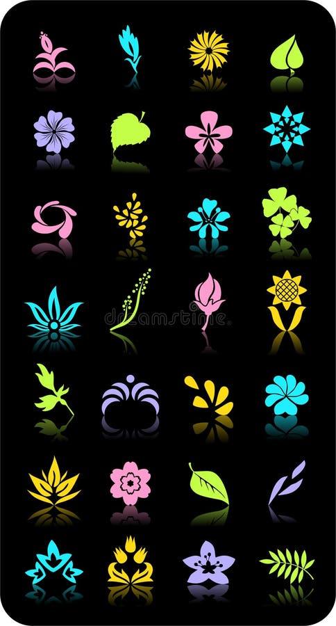 Flores y hojas. Objetos del vector. stock de ilustración
