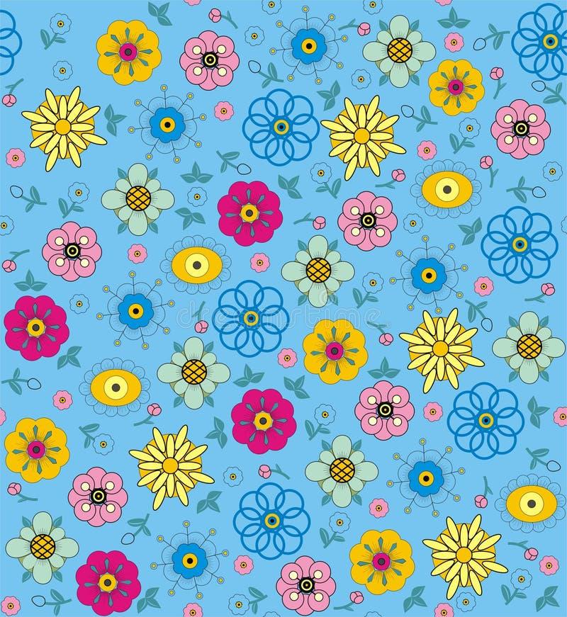 Flores y hojas púrpuras, rosadas, azules, verdes y amarillas stock de ilustración