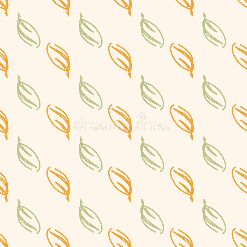 Wild autumn or spring leaves seamless pattern in green and orange in geometric diagonals. Hand drawn floral botanical elements for fashion, textile, wrapping stock illustration