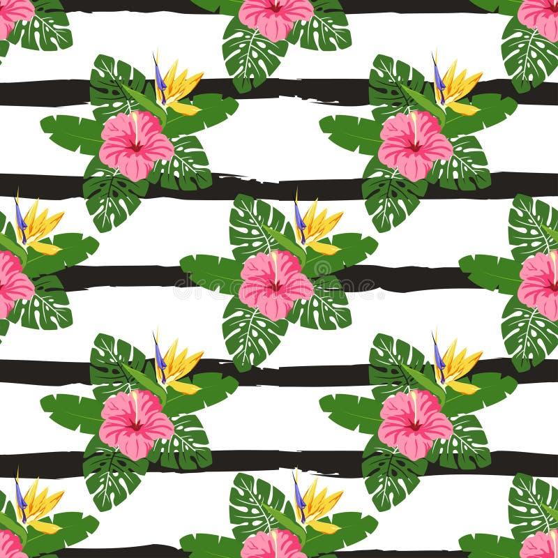 Flores y hojas tropicales ilustración del vector