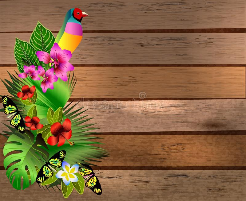 Download Flores Y Hojas Tropicales Y Mariposa Hermosa Sobre La Madera, B Ilustración del Vector - Ilustración de ramificación, decorativo: 42443389