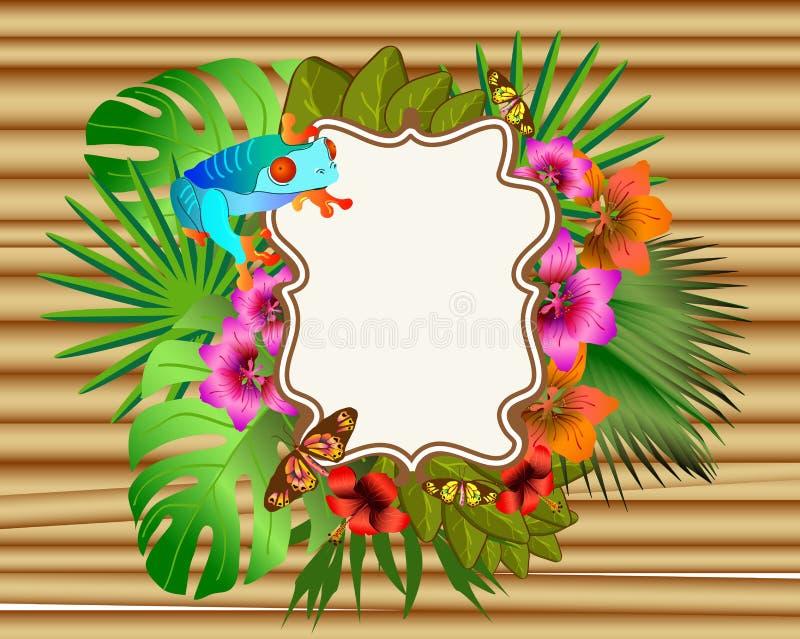 Download Flores Y Hojas Tropicales Y Mariposa Y Rana Hermosas, Br Ilustración del Vector - Ilustración de flora, floral: 42443405