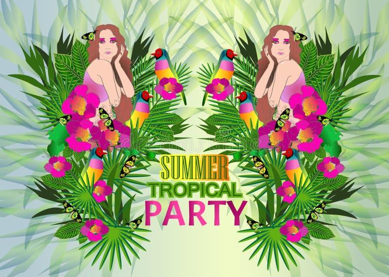 Download Flores Y Hojas Tropicales Y Mujer Hermosa, Cartel Brillante Ilustración del Vector - Ilustración de exótico, floración: 42443272