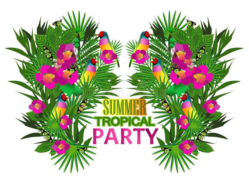 Download Flores Y Hojas Tropicales Y Pájaro Hermoso, Cartel Brillante Ilustración del Vector - Ilustración de botánico, decoración: 42443238