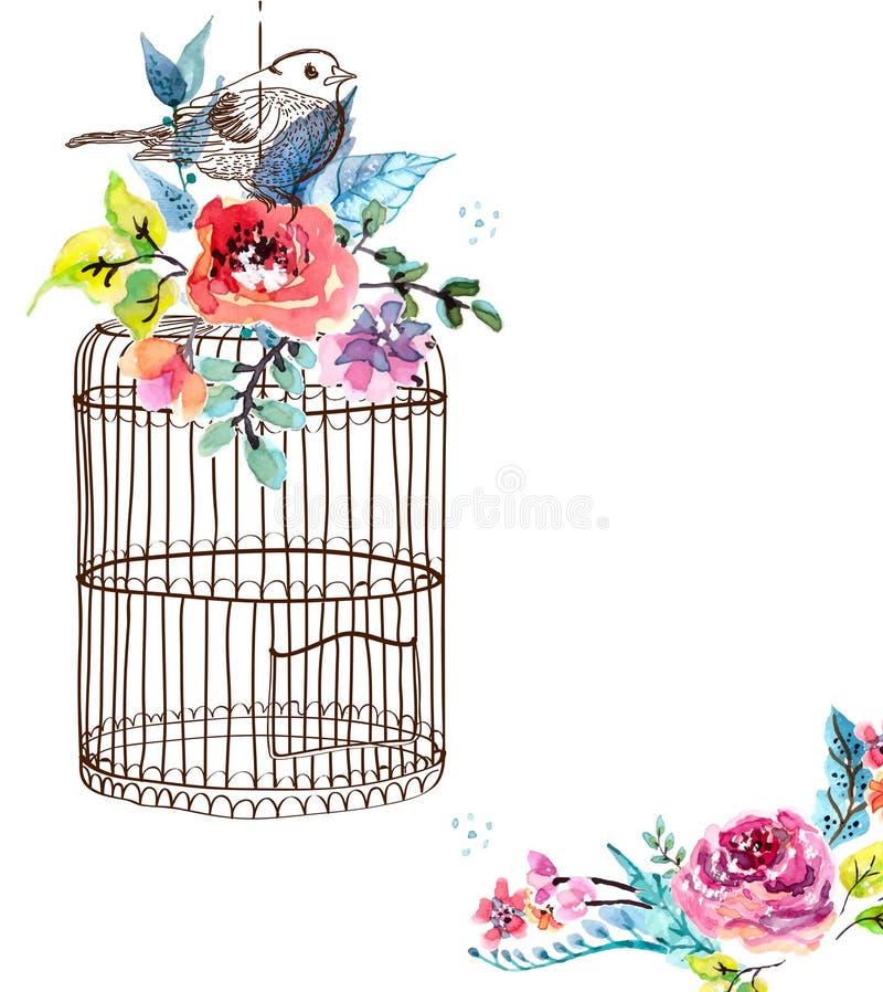 Flores y jaula de pájaros de la acuarela stock de ilustración