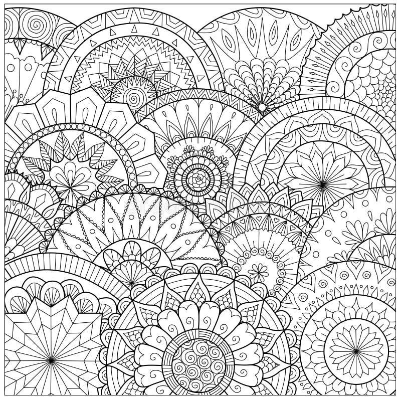 Flores y línea arte de las mandalas para el libro de colorear para el adulto, las tarjetas, y otras decoraciones stock de ilustración
