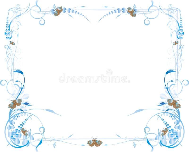 Flores Y Marco Azules De La Mariposa Ilustración del Vector ...