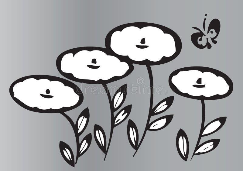 Flores y mariposa artísticas ilustración del vector