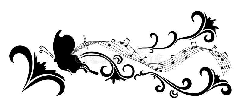 Flores y mariposa del extracto del vector del garabato stock de ilustración
