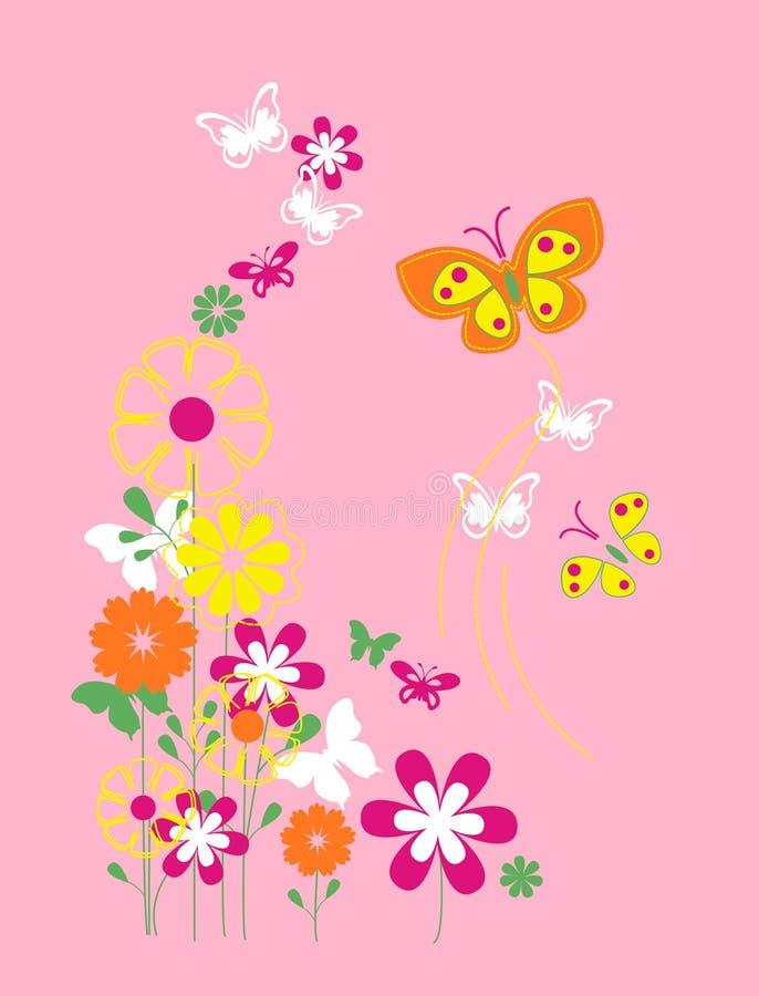 Flores y mariposa, gráfico de la camiseta ilustración del vector
