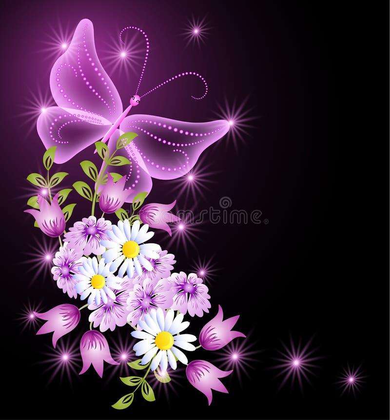 Flores y mariposa transparente ilustración del vector