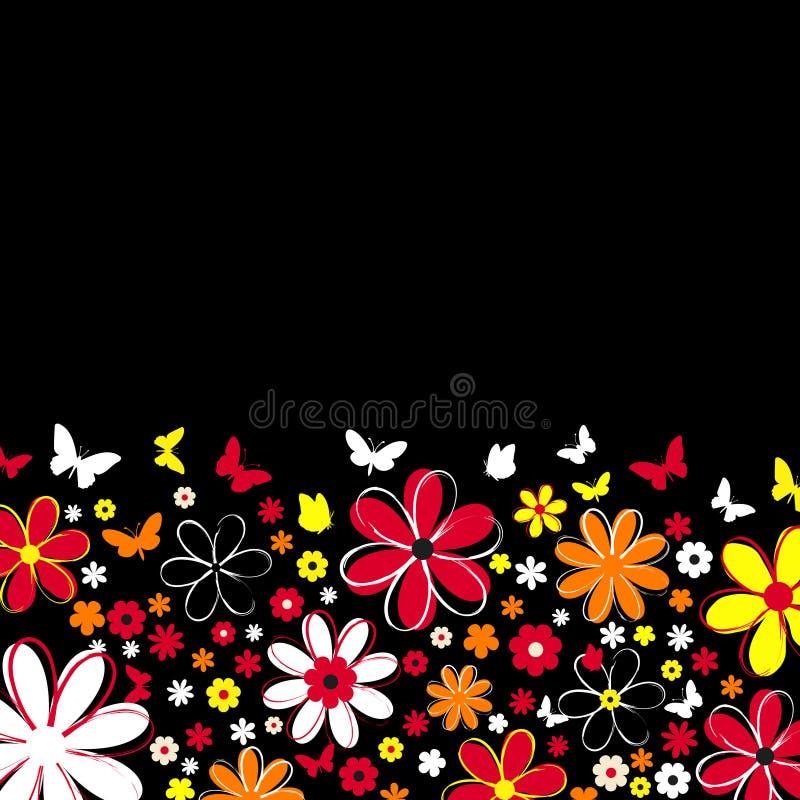 Flores y mariposas ilustración del vector