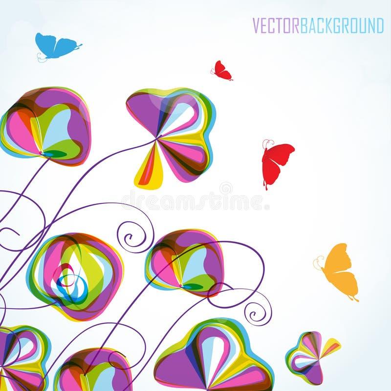 Flores y mariposas coloridas del verano stock de ilustración