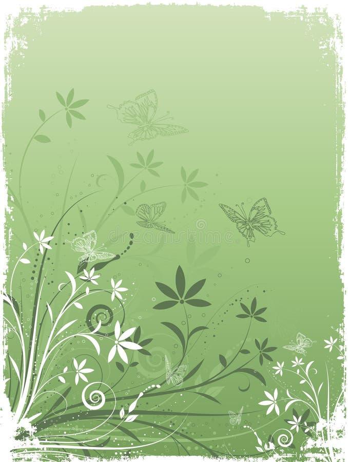 Flores y mariposas de Grunge libre illustration