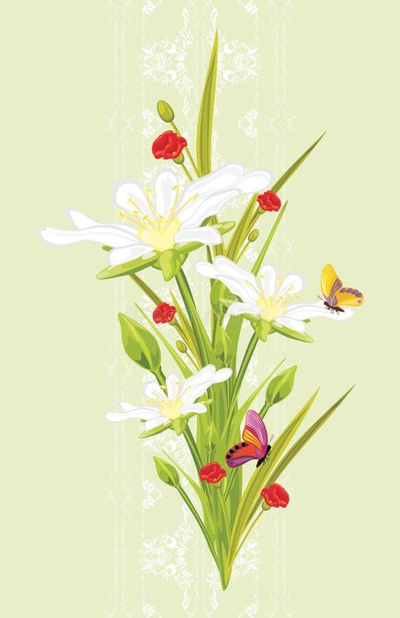 Flores y mariposas de la primavera en el fondo decorativo Tarjeta de felicitación ilustración del vector