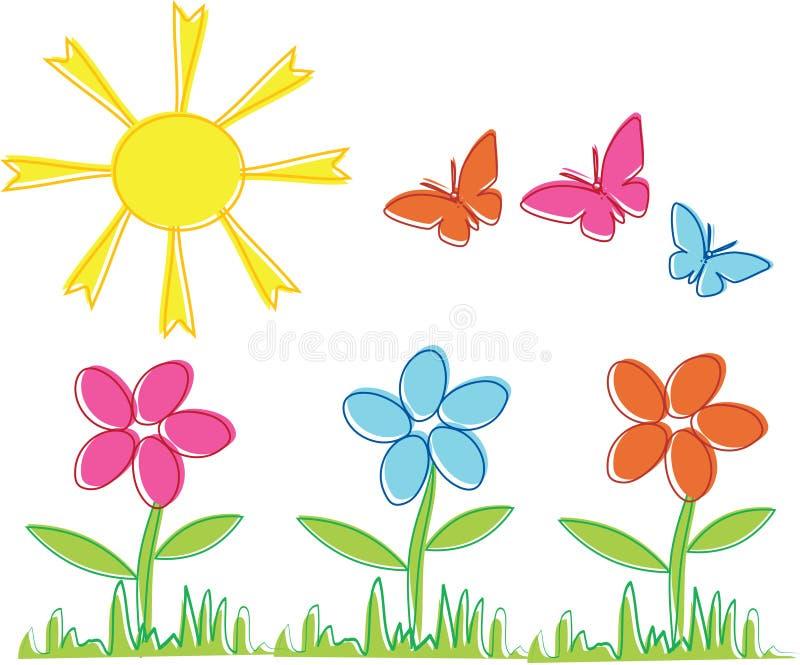 Flores y mariposas del resorte stock de ilustración