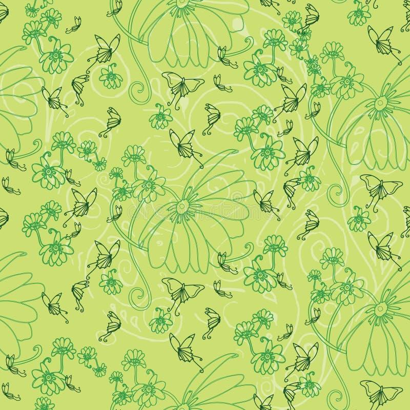 Flores y mariposas en verde fotos de archivo libres de regalías