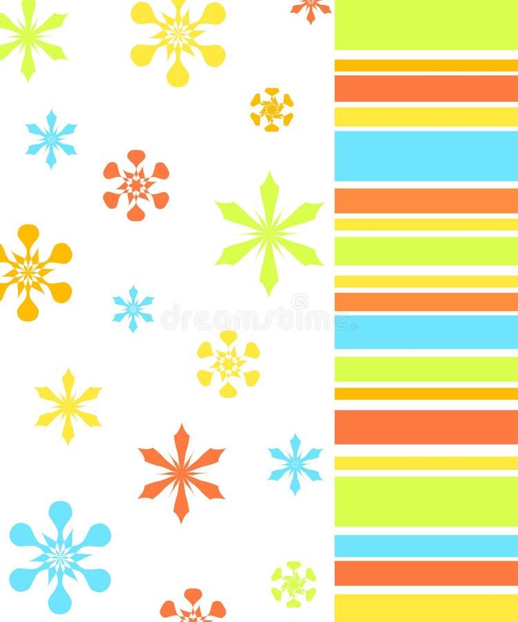 Flores y modelo de las rayas ilustración del vector