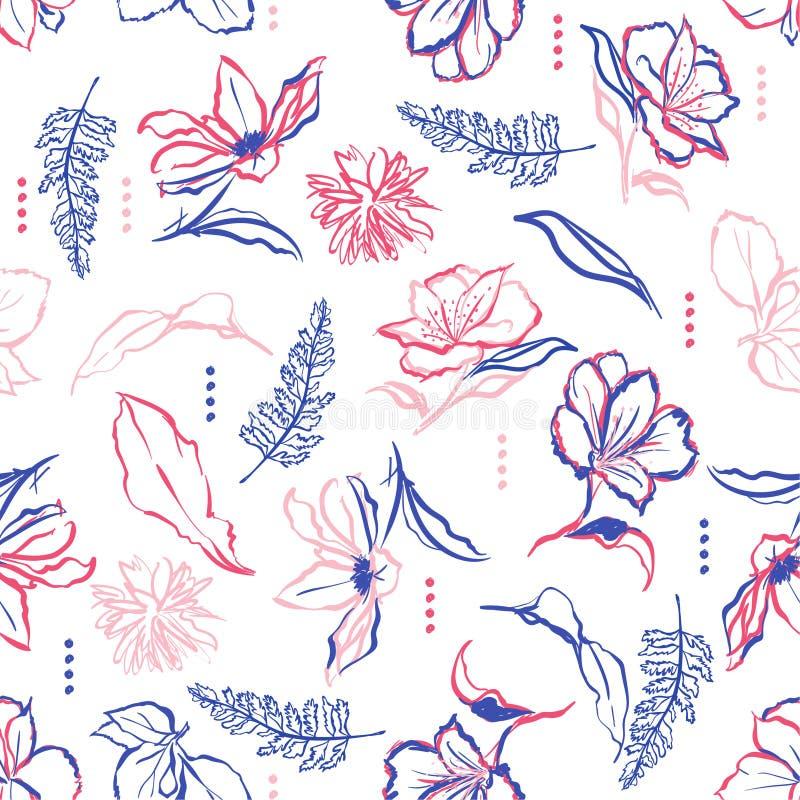 Flores y movimientos dibujados mano colorida del cepillo Vector p inconsútil ilustración del vector