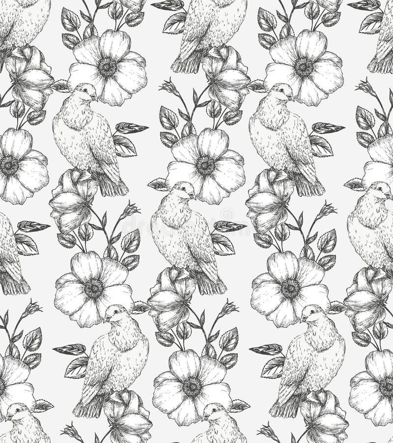 Flores y pájaros libre illustration