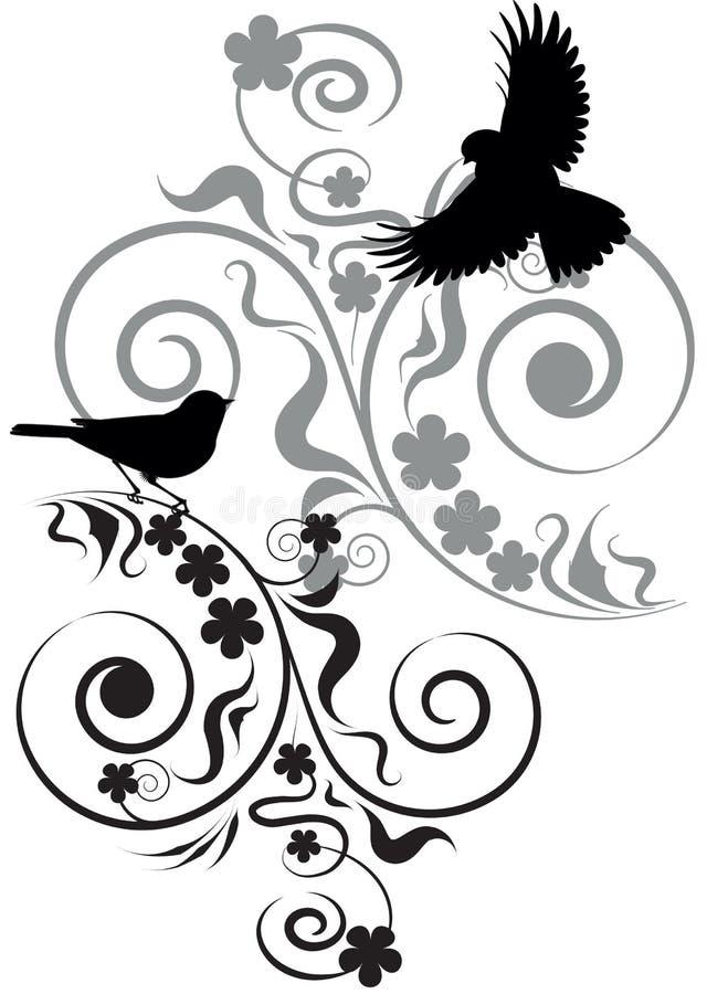 Flores y pájaros stock de ilustración