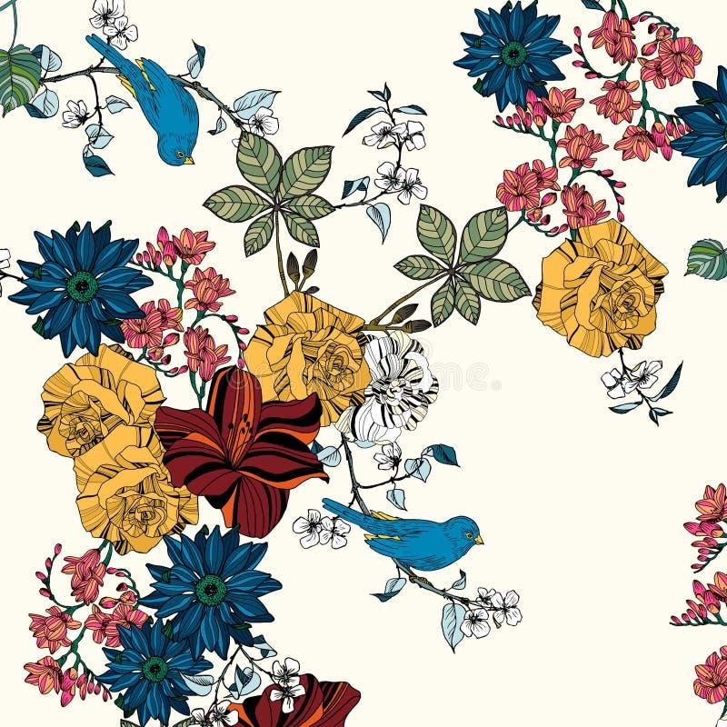 Flores y pájaros hermosos foto de archivo