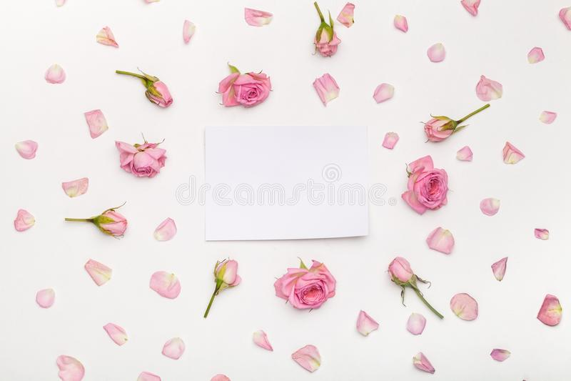 Flores y papel imagen de archivo libre de regalías