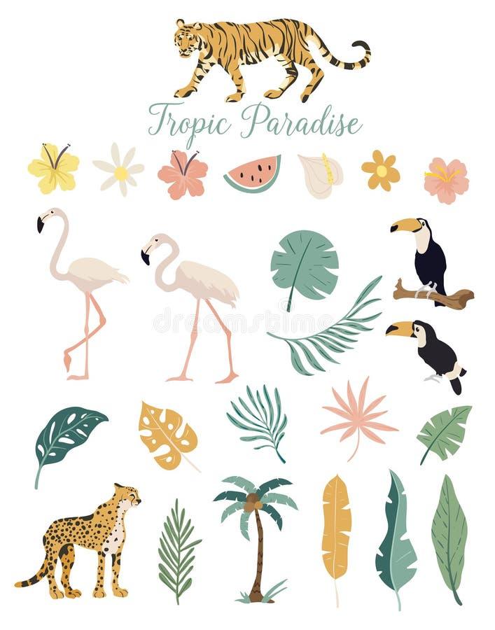 Flores y plantas tropicales de los animales del paraíso ilustración del vector