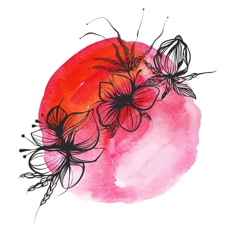 Flores y plumas en estilo del boho en fondo de la acuarela foto de archivo