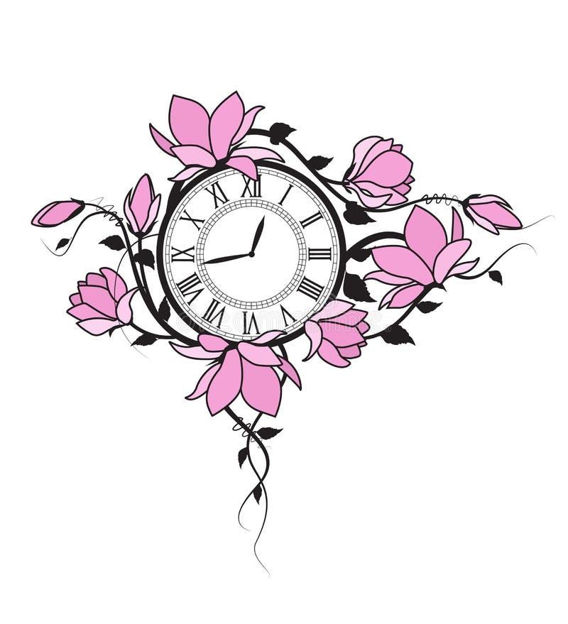 Flores y reloj de la magnolia ilustración del vector