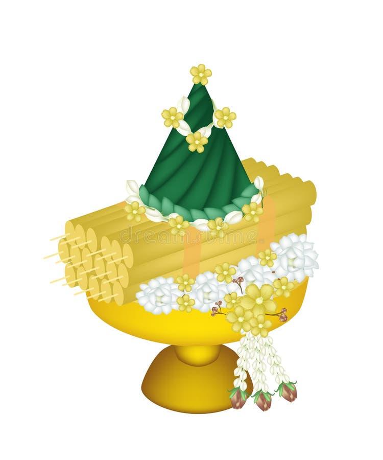 Flores y velas adornadas en la bandeja con el pedestal stock de ilustración