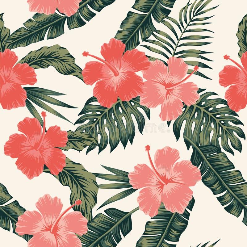 Floresce as folhas tropicais da cor abstrata do hibiscus sem emenda ilustração stock