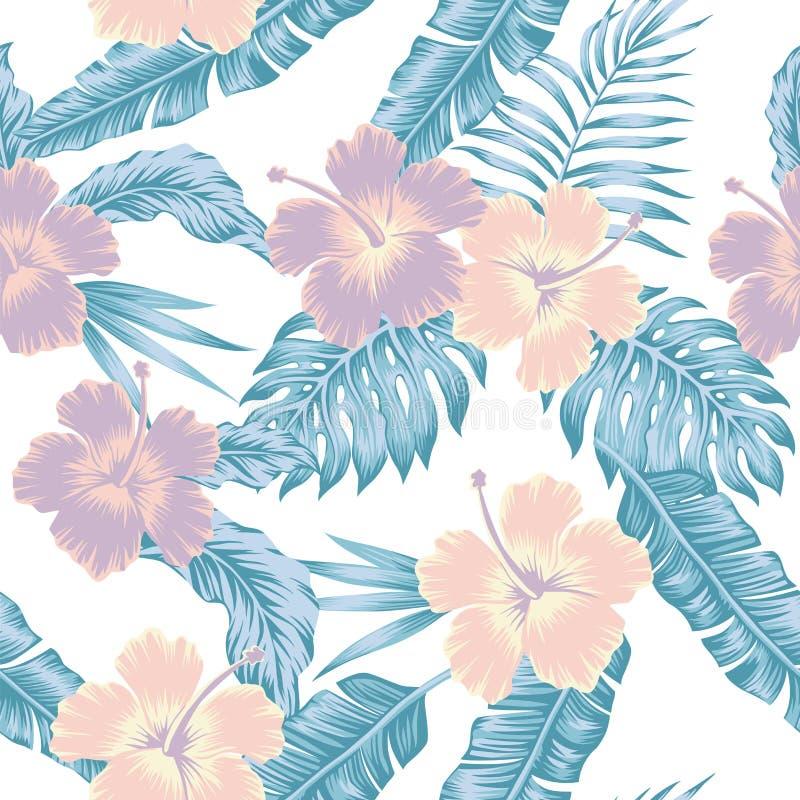 Floresce as folhas tropicais da cor fria abstrata do hibiscus sem emenda ilustração do vetor