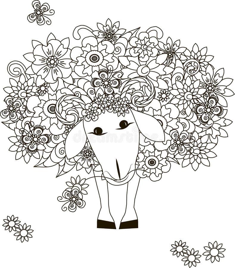Floresce carneiros ilustração stock