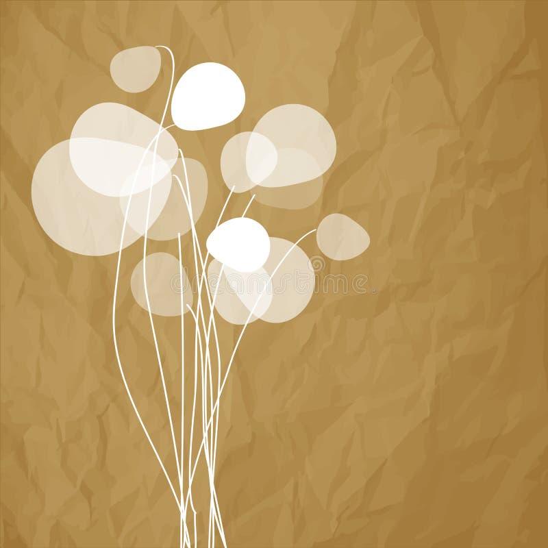 Floresce dentes-de-leão em um fundo marrom de papel amarrotado ilustração do vetor
