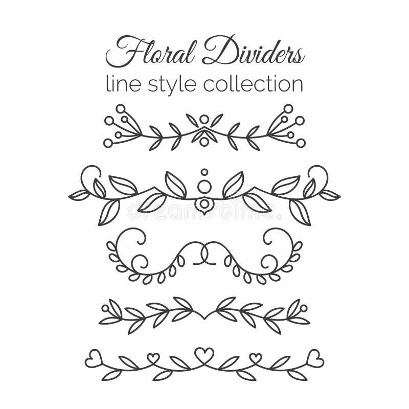 floresce Divisores tirados mão ajustados Linha decoração do estilo ilustração royalty free
