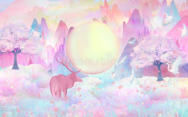 Floresce a Lua cheia, flores da mola abrem, cervos no jogo da floresta felizmente, nos pássaros de voo da selva ilustração do vetor