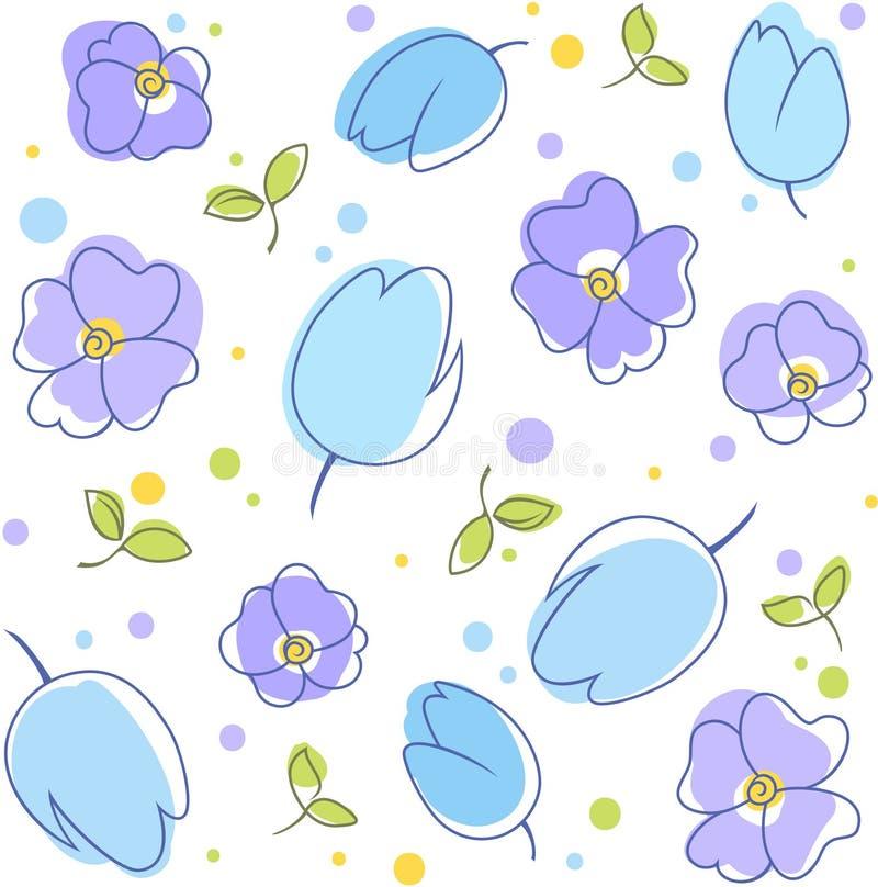 Floresce o azul do fundo ilustração do vetor