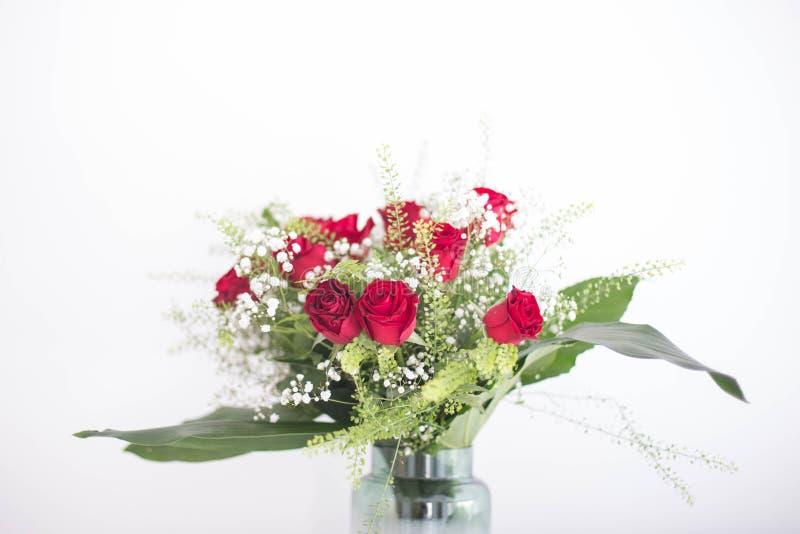 Floresce rosas vermelhas do ramalhete no fundo branco foto de stock