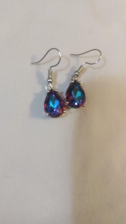 Florescent Sapphires Drop Dangle Earrings immagini stock libere da diritti