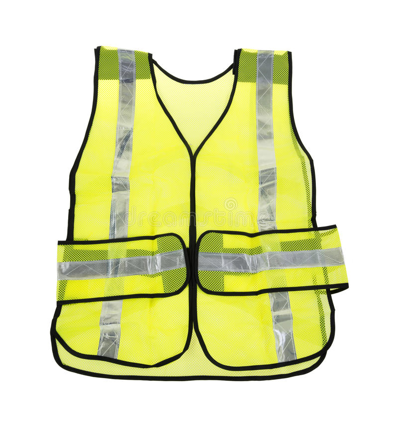 Florescent yellow safety vest. A large florescent yellow safety vest with several reflective silver stripes on a white background royalty free stock images